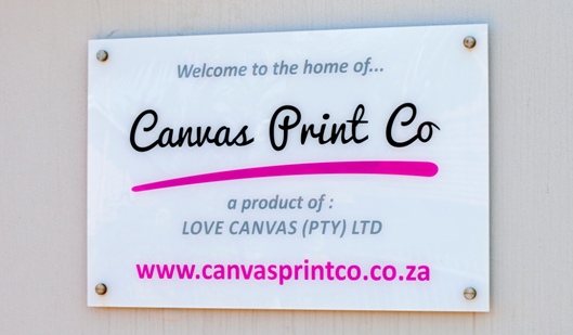 canvas print co signage - acrylic