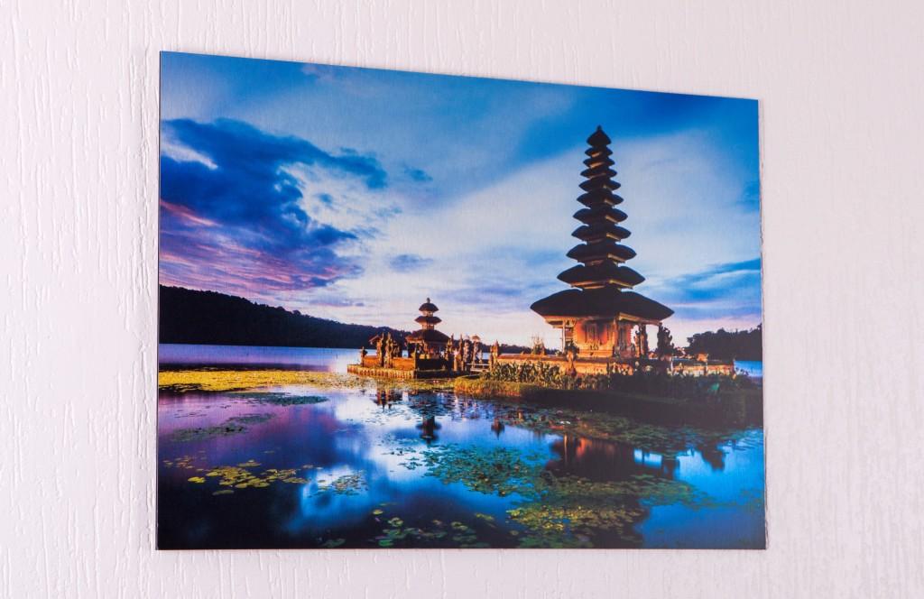 Aluminium print of asian landscape on wall