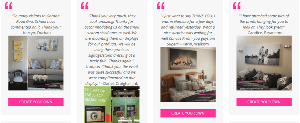 testimonials for our canvas prints