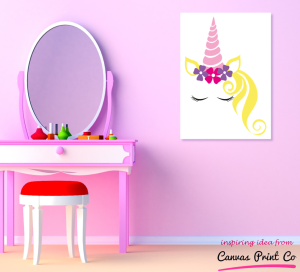 unicorn print in purple room