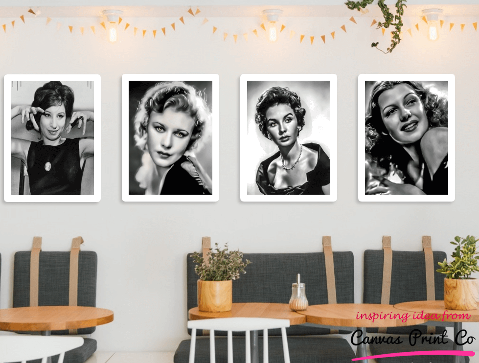 old hollywood framed prints x4 in cafe