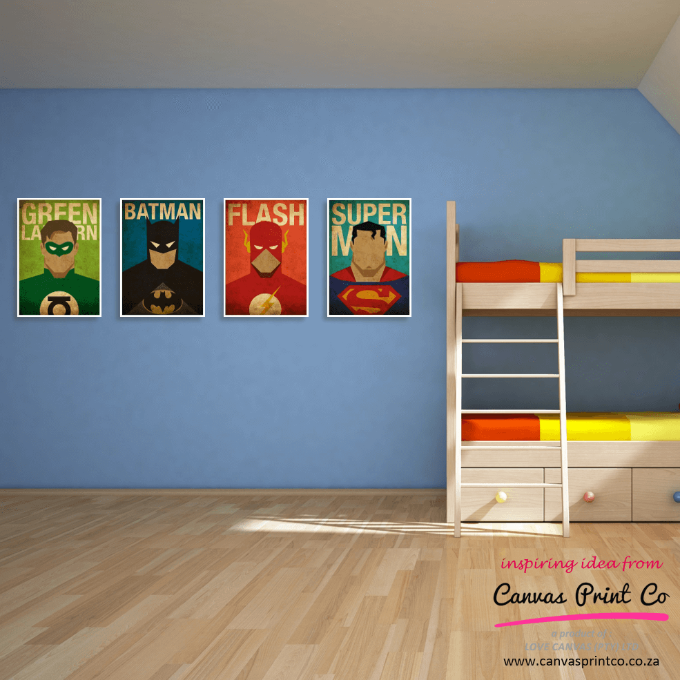 super hero 4 prints in blue kids room