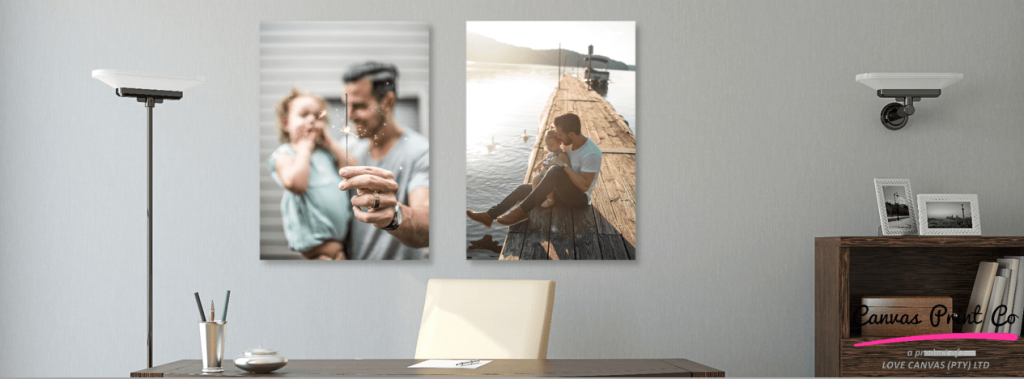 dad and child canvas set in grey office